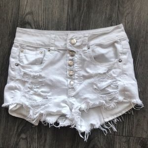 American Eagle white High Rise Distressed Shorts